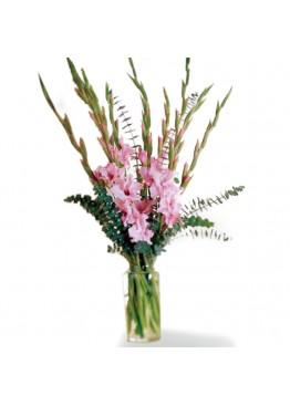 Букет розовых гладиолусов