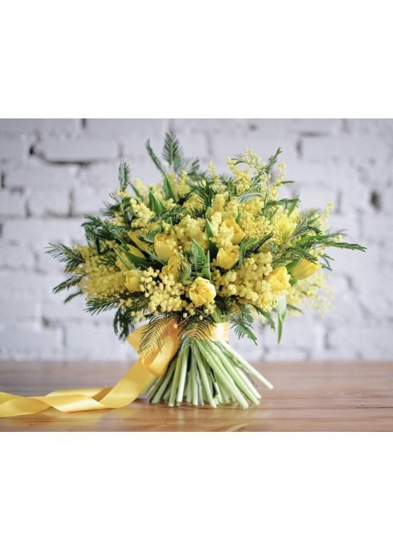 Букет невесты из мимоза, цветы оптом