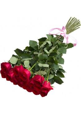19 красных роз высота 80 см.