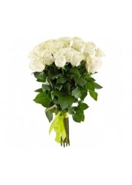 19 белых роз высотой 60 см.